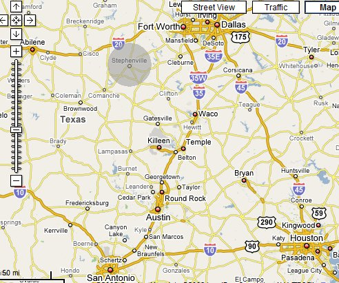Map-Stephenville, Texas Location
