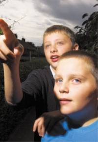 Liam and Matthew of Mytholmroyd look at the strange lights