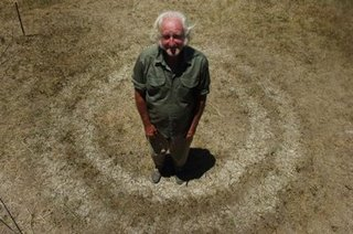 Mr Riviora stands inside the puzzling circles created by heat