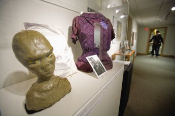 A papier-mache bust of an alien made by Marjorie Fish based on the description from Betty Hill of her abductors is on display at the UNH museum at Diamond Library in Durham