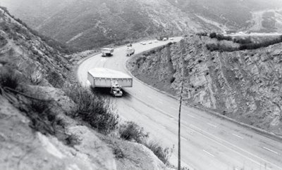 Built in Burbank, the OXCART needed cumbersome transport to Area 51, with road signs removed, road banks leveled, and trees removed.