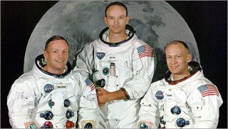 Apollo 11 astronauts (from left) Neil Armstrong, Michael Collins, and Edward Buzz Aldrin pose in this file photo