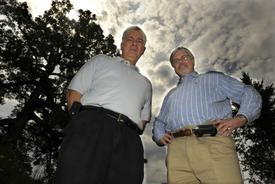 Joe Cambria, left, and Greg Berghorn of the New England UFO Research Organization - Art Illman/Daily News staff