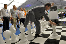 Kalmyk President Kirsan Ilyumzhinov at the event devoted to the 39th Global Chess Olympics that will take place in Khanty-Mansiisk in September 2010. The event was held in the framework of the International Sports Forum Russia, a Sports Power