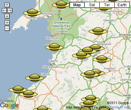 UFOs in Wales Map