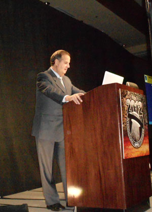 Gen. Bermúdez lecturing at the International UFO Congress on Feb. 25, 2012. (Credit: Antonio Huneeus)