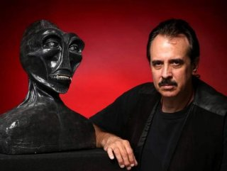 Port Orange UFO investigator Frank Feschino Jr., with a lifesized bust he created of the Flatwoods Monster, recently published The Braxton County Monster — Revised Edition — The Cover-Up of the Flatwoods Monster Revealed.