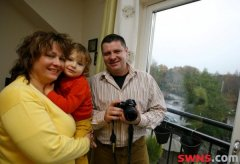 UFO spotter Adrian Musat with his wife Nicoleta and son Alex at home in Pitlochry, Scotland