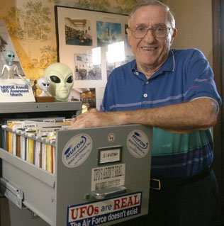 George Fawcett, dean of N.C. UFO investigators. He sent books and other material to the International UFO Museum in Roswell, N.M., where he is an honorary director