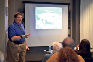 Photo by Steven Wyble - Ufologist James E. Clarkson, director of the Mutual UFO Network in Washington, speaks at Yelm Timberland Library last Wednesday.