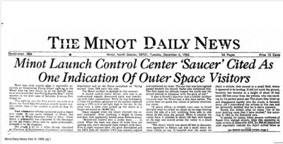 UFO story on the front page of the Minot Daily News on December 6, 1966