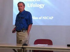 Stewart Hill state director Mutual UFO Network Indiana gives an overview UFOs during state meeting Saturday Valparaiso Public Library.