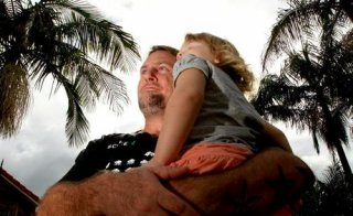 Rick Whitley with his daughter Ella-Rose at their south tweed home. Photo: Blainey Woodham / Daily News