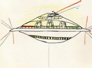 This is a drawing of a UFO an Edmonton boy claims he saw in the 1960s