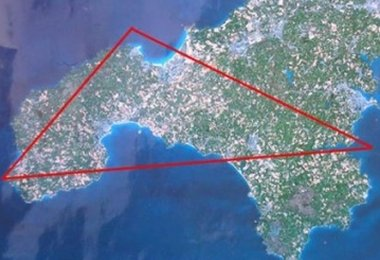 The Cornwall UFO Triangle - image from the Cornwall UFO Research Group.