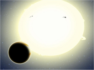 Artist's concept shows the first planet discovered by NASA's Kepler spacecraft