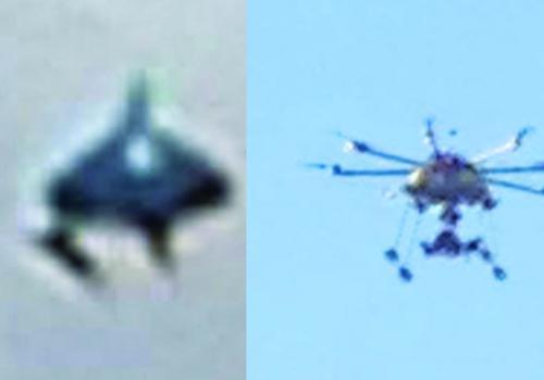 Left, UFO image online. Right, a remote- controlled helicopter