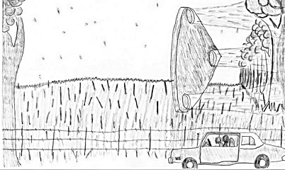 Scott Freeman sketched the scene he and his cousin saw when they were eastbound on Dent County Route H.