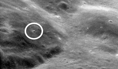 The UFO seen close to the surface of the moon in the image from the Apollo 11 mission. Pic: NASA