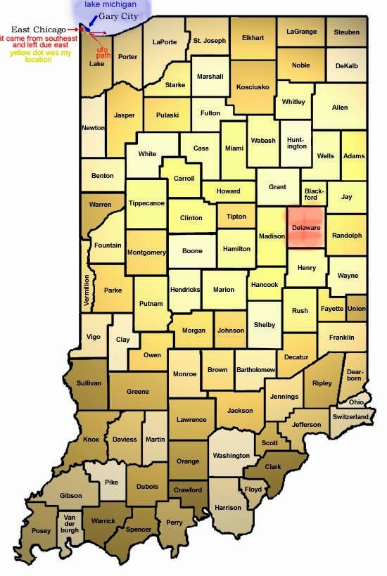Tracking of 1973 Indiana UFO