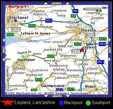 Leyland, Blackpool, Southport Map