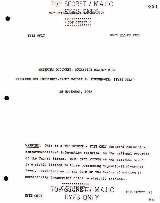 Les documents Majestic12 un vaste canular Mj1
