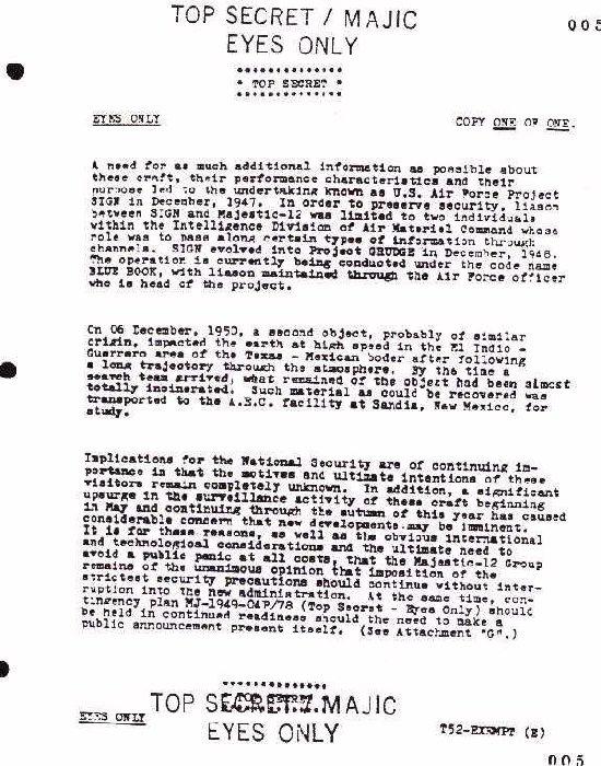 Les documents Majestic12 un vaste canular Mj5