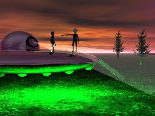 UFO Landing Depiction